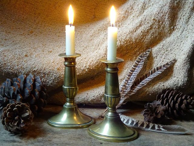 Pair of Georgian antique brass candlesticks | H is for Home