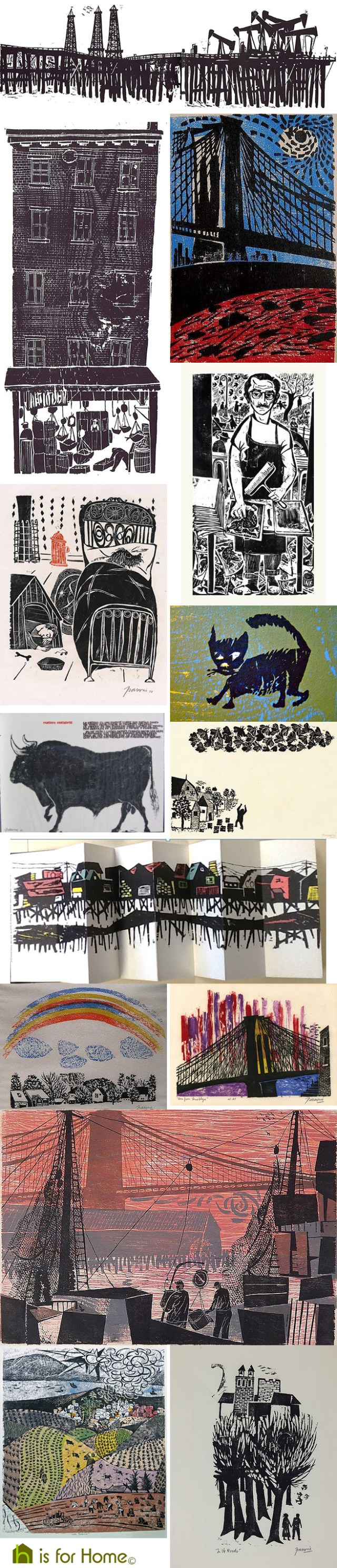 Mosaic of Antonio Frasconi artworks | H is for Home