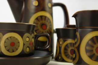vintage Denby pottery coffee set