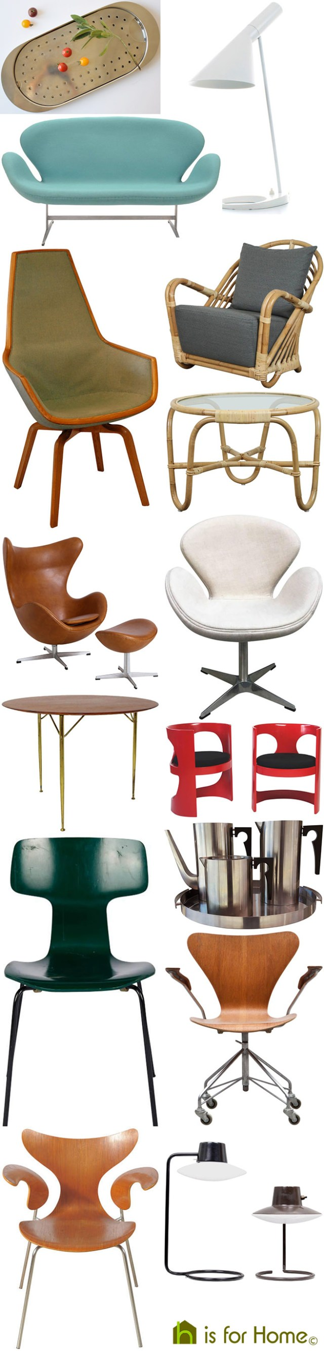Mosaic of Arne Jacobsen designs | H is for Home