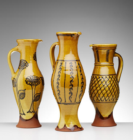 Trio of slipware baluster jugs handmade by Hannah McAndrew | H is for Home
