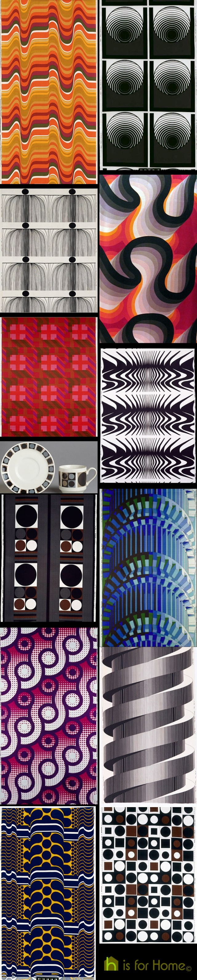 Collage of Barbara Brown textile designs | H is for Home