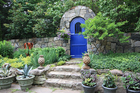 Cornflower blue garden door
