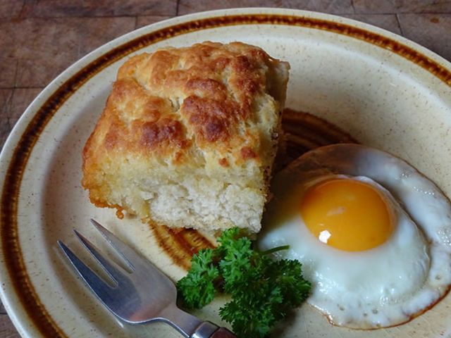 Home-made butter-dipped biscuits with fried egg | H is for Home
