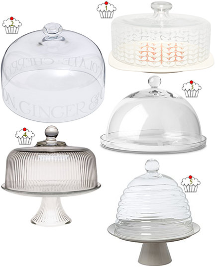 selection of 5 glass and pottery cake domes