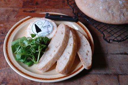 Sliced, home-made ciabatta with Todmorden-made Pextenement cheese and watercress | H is for Home