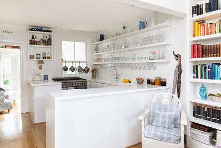 brilliant white painted coastal kitchen