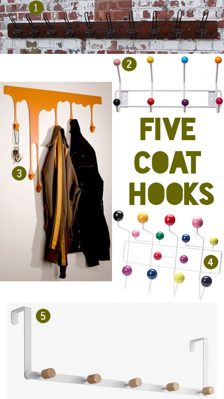 Selection of five coat hooks