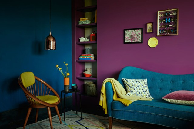 Cobalt and plum painted sitting room