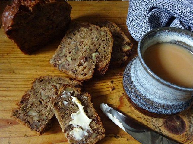 Buttered slices of home-made courgette loaf cake | H is for Home
