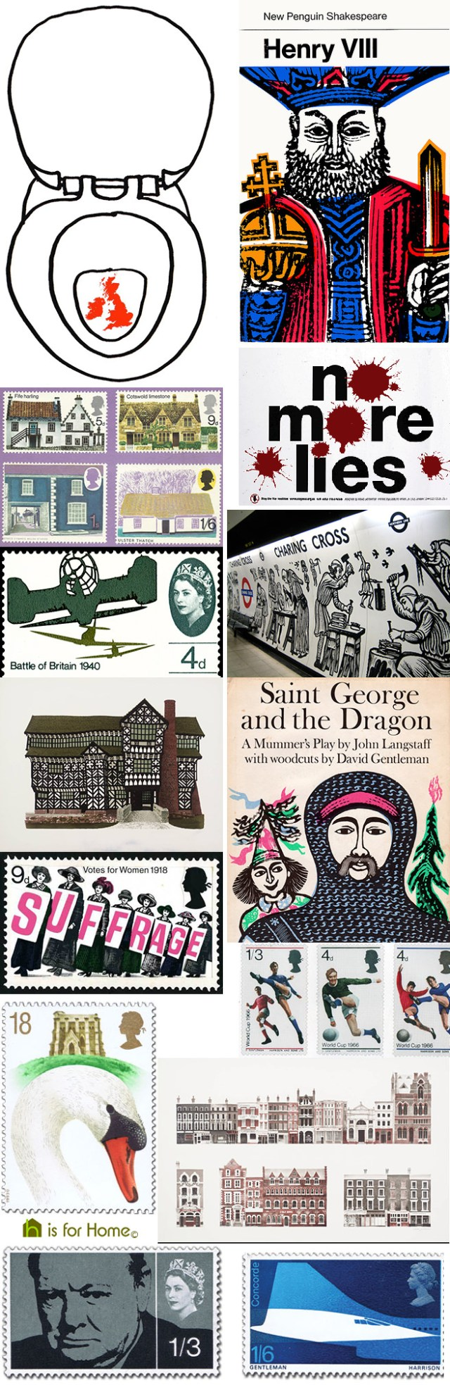 Mosaic of David Gentleman designs | H is for Home