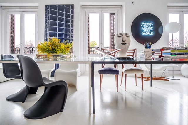 Design-led monochrome work room
