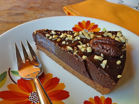 Slice of home-made double choc nut tart via @hisforhome