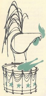 Charley Harper illustration of a chicken on a drum | H is for Home