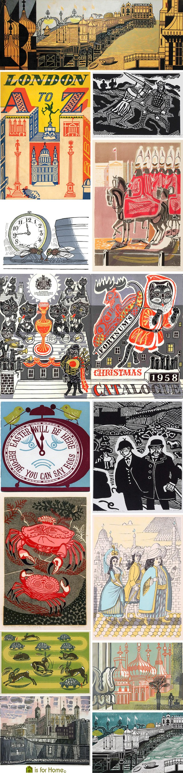 Mosaic of Edward Bawden artworks | H is for Home