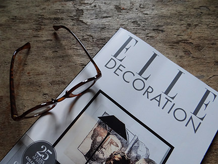 Elle Decoration February 2014 magazine cover with pair of glasses