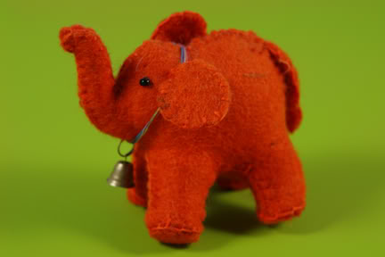 Little orange felt elephant made in Nepal | H is for Home