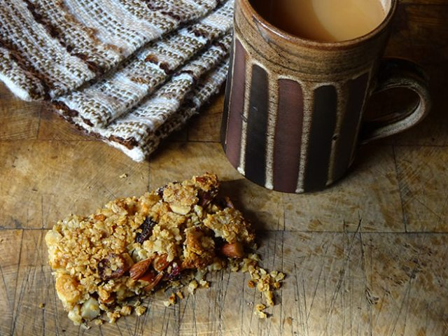Slice of home-made fruit and nut flapjack | H is for Home