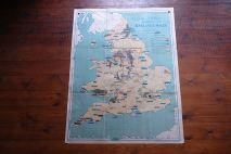 Vintage 'Industrial' school wall map of England & Wales