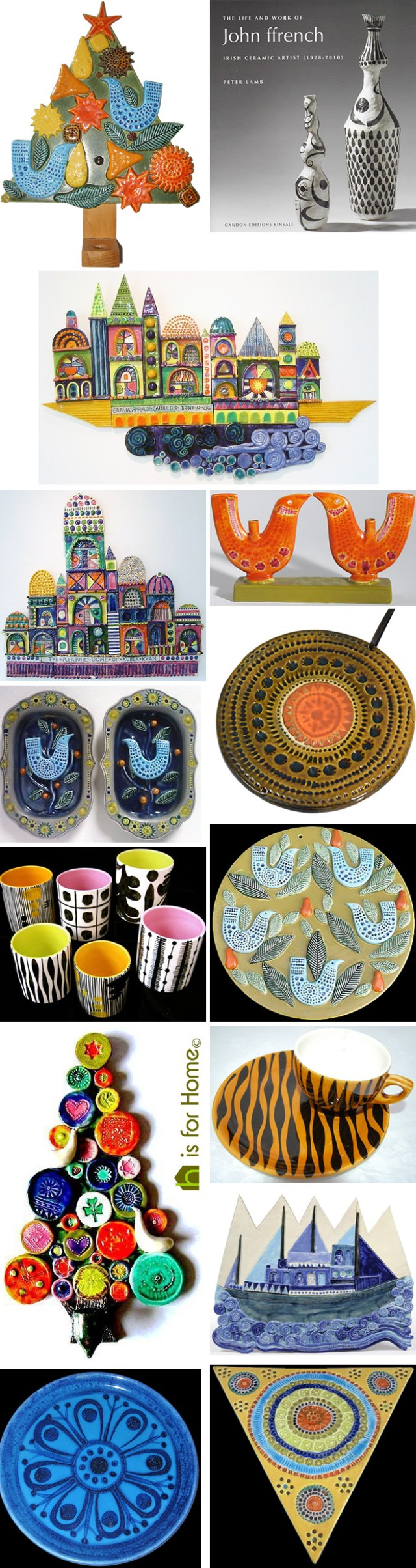 Mosaic of John ffrench pottery designs | H is for Home