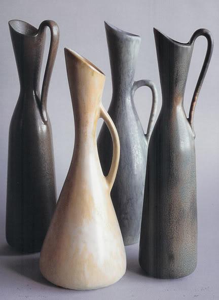 Stoneware ewers by Gunner Nylund