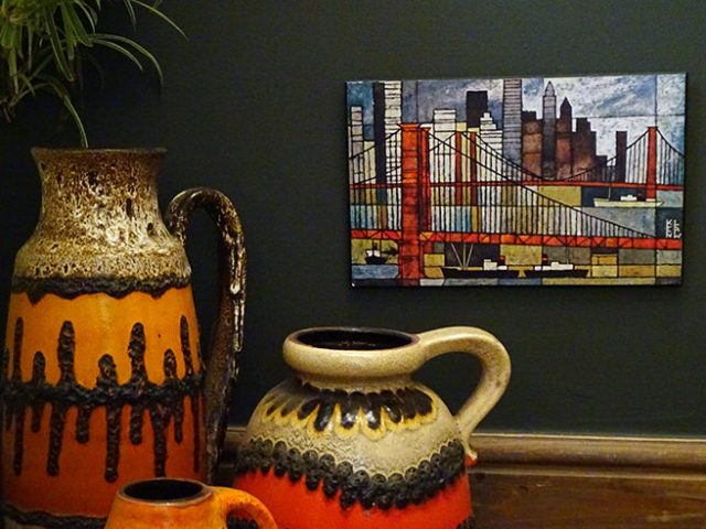 Ken Law Brooklyn Bridge print with vintage West German vases | H is for Home
