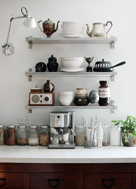 eclectic kitchen shelving