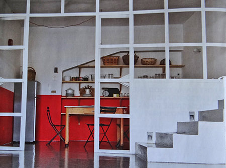 Kitchen and stairs in a modernist mill