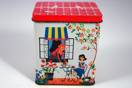 Vintage 1950s tin depicting 2 ladies having tea | H is for Home