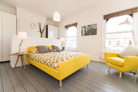 Yellow bed and chair from MADE