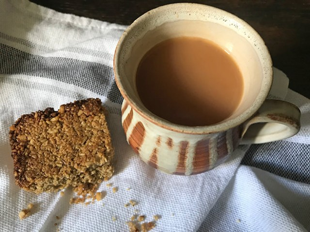 Malted flapjack with mug of tea