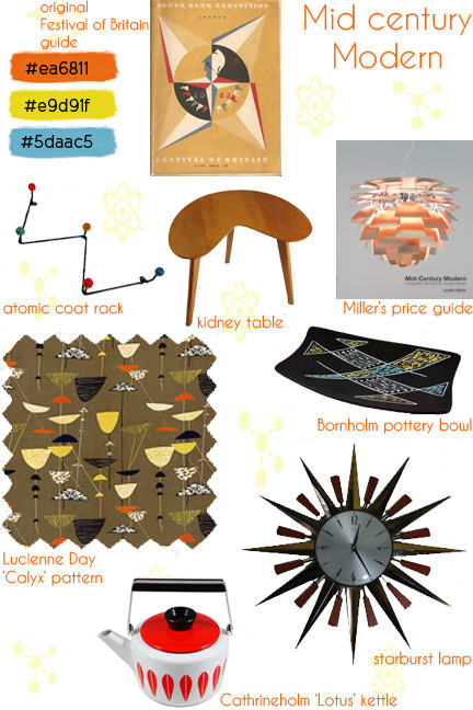 Mid century modern mood board | H is for Home