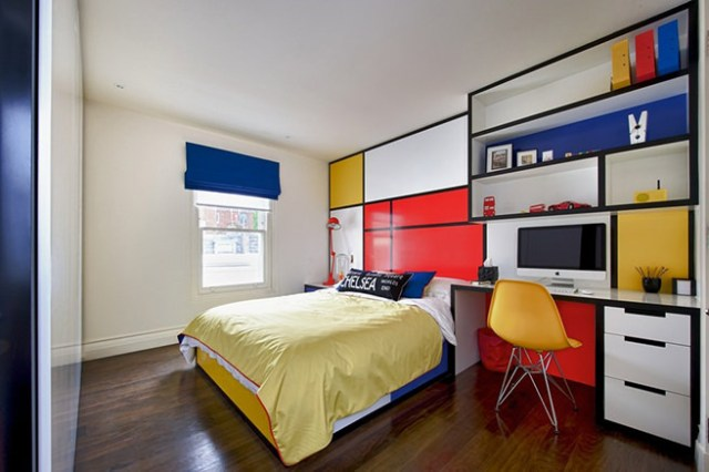 Mondrian-style teenage boy's bedroom