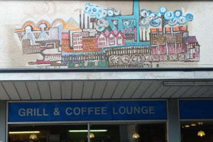 Mosaic tiled wall in Huddersfield town centre | H is for Home