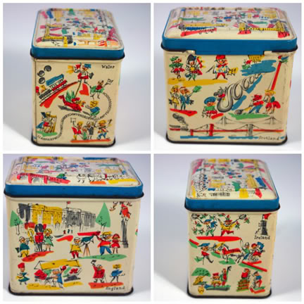 Mosaic of different sides of vintage tin depicting the British Isles | H is for Home