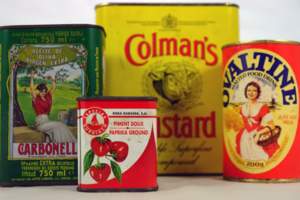 Collection of brightly coloured vintage & new food tins | H is for Home