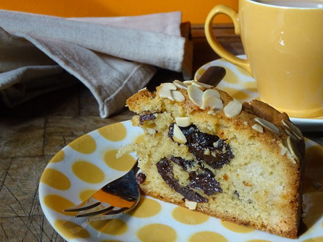 Slice of home-made prune and almond fruit cake   H is for Home