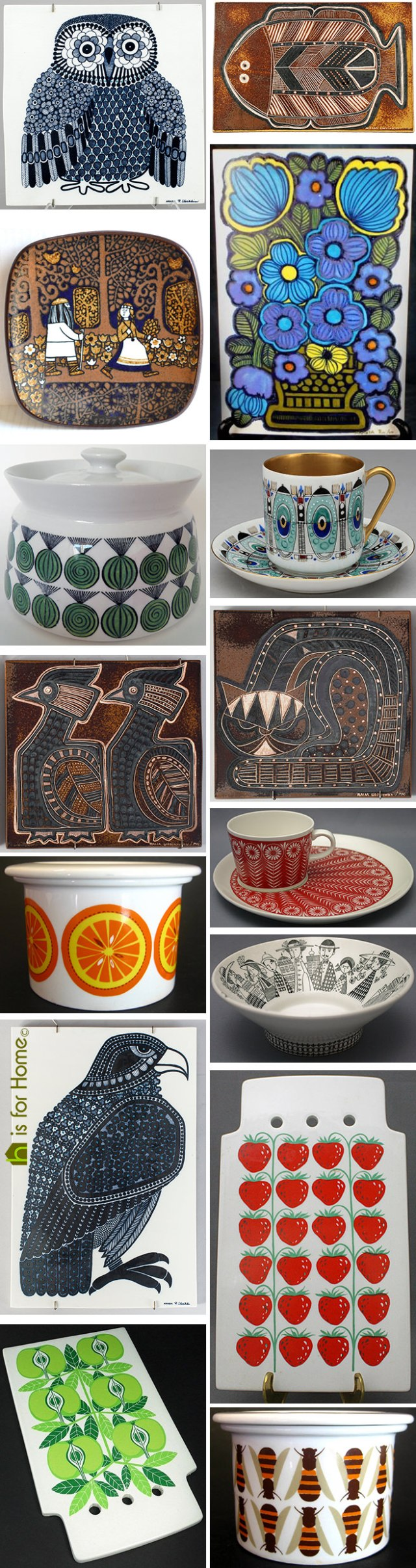Mosaic of Raija Uosikkinen designs | H is for Home