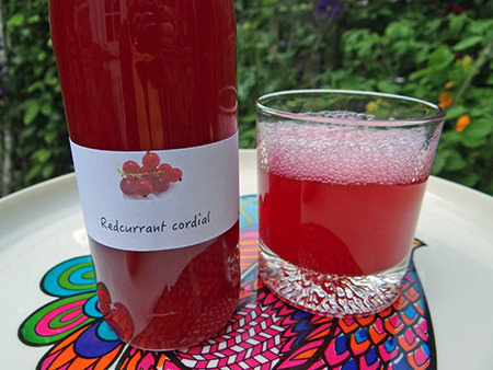 Bottle and glass of home-made redcurrant cordial | H is for Home