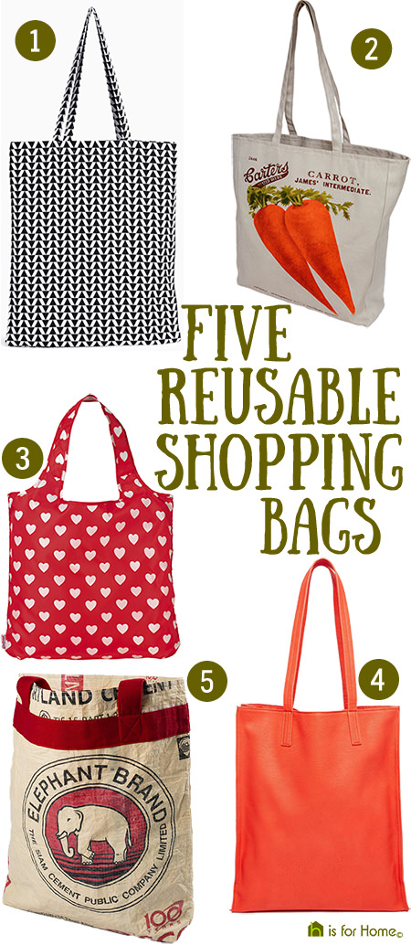 Selection of 5 reusable shopping bags