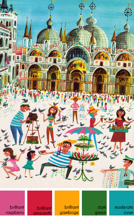 illustration of Piazza San Marco by Richard Erdoes from his book 'Peddlers and Vendors Around the World' | H is for Home