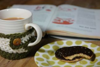 tea and biscuit with book