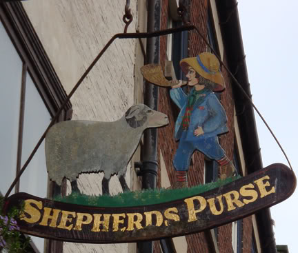 Shepherds Purse hanging sign, Whitby | H is for Home