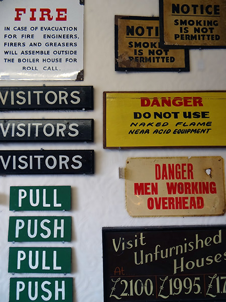 collection of industrial vintage signs