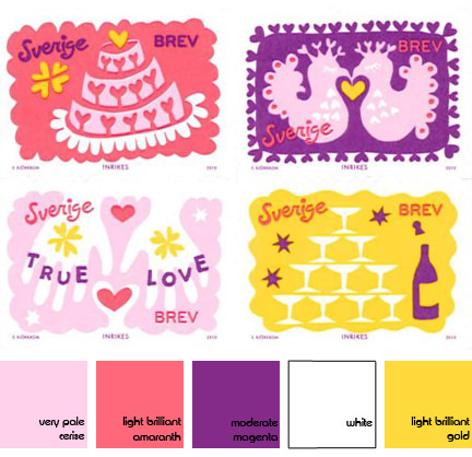 Set of 4 Valentine's Day stamps from Sweden