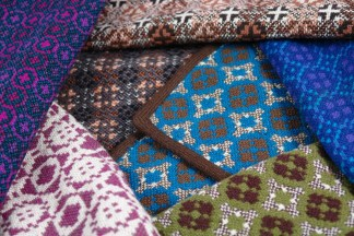 selection of vintage Welsh wool tapestry fabric & fashion