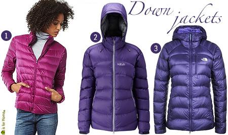 3 women's down jackets