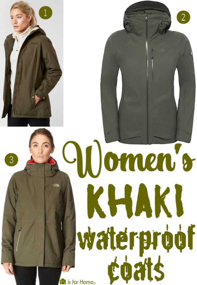 Women's khaki waterproof coats | H is for Home