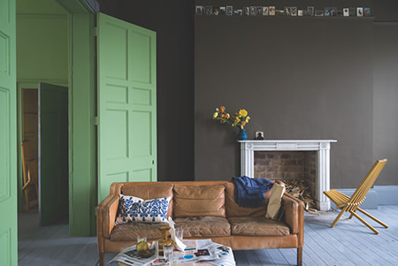Farrow & Ball Yeabridge Green painted door with Salon Drab painted walls
