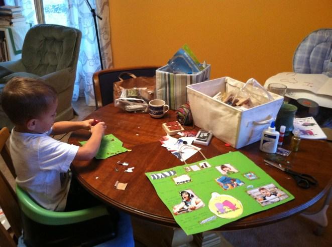 Busy making birthday crafts.